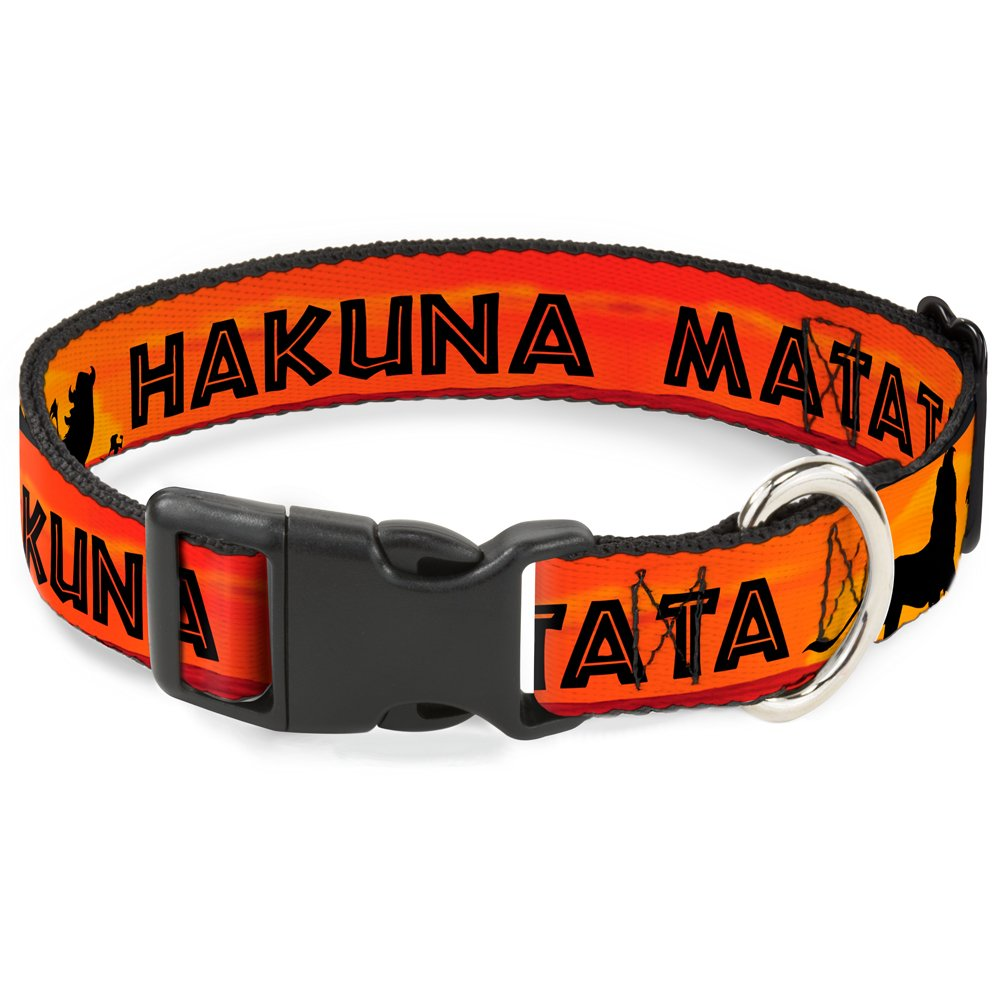 Buckle-Down Cat Collar Breakaway Lion King Hakuna Matata Sunset Oranges Black 9 to 15 Inches 0.5 Inch Wide by Buckle-Down
