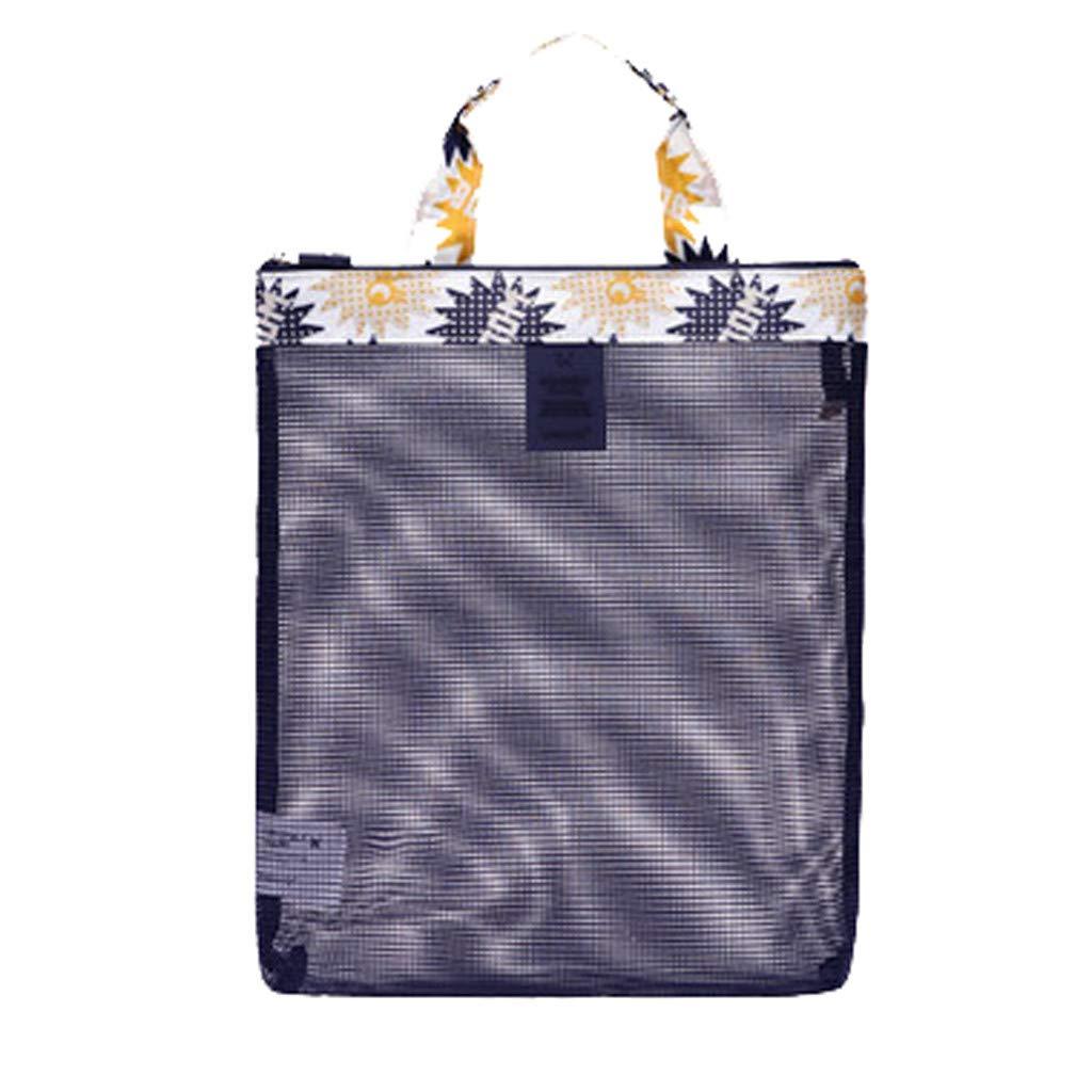 Swyss Fashion Printed Mesh Tote Beach Bags 10.62×11.81inch Breathable Sand Away Beach Treasures Seashell Bags Toy Storage Bag (A)