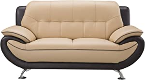 "American Eagle Furniture Georgiana Ultra Modern Two Tone Leather Upholstered Loveseat With Pillow Top Armrests and Tufting and Splayed Legs, 67"", Cream/Brown"