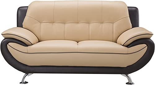 American Eagle Furniture Georgiana Ultra Modern Two Tone Leather Upholstered Loveseat