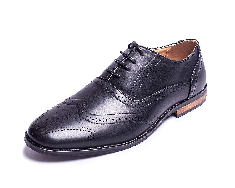 Jabasic Men Oxford Shoes Classic Modern Wingtip Lace Dress Shoes