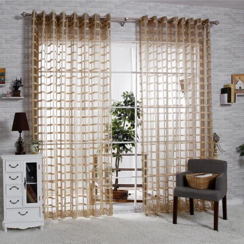 R.LANG Solid Grommet Top Square Lattice Living Room Sheer Curtain 1 Pair Coffee 66 W X 90 L