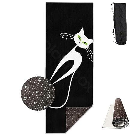 Esterilla de yoga con diseño de gato blanco con ojos verdes ...