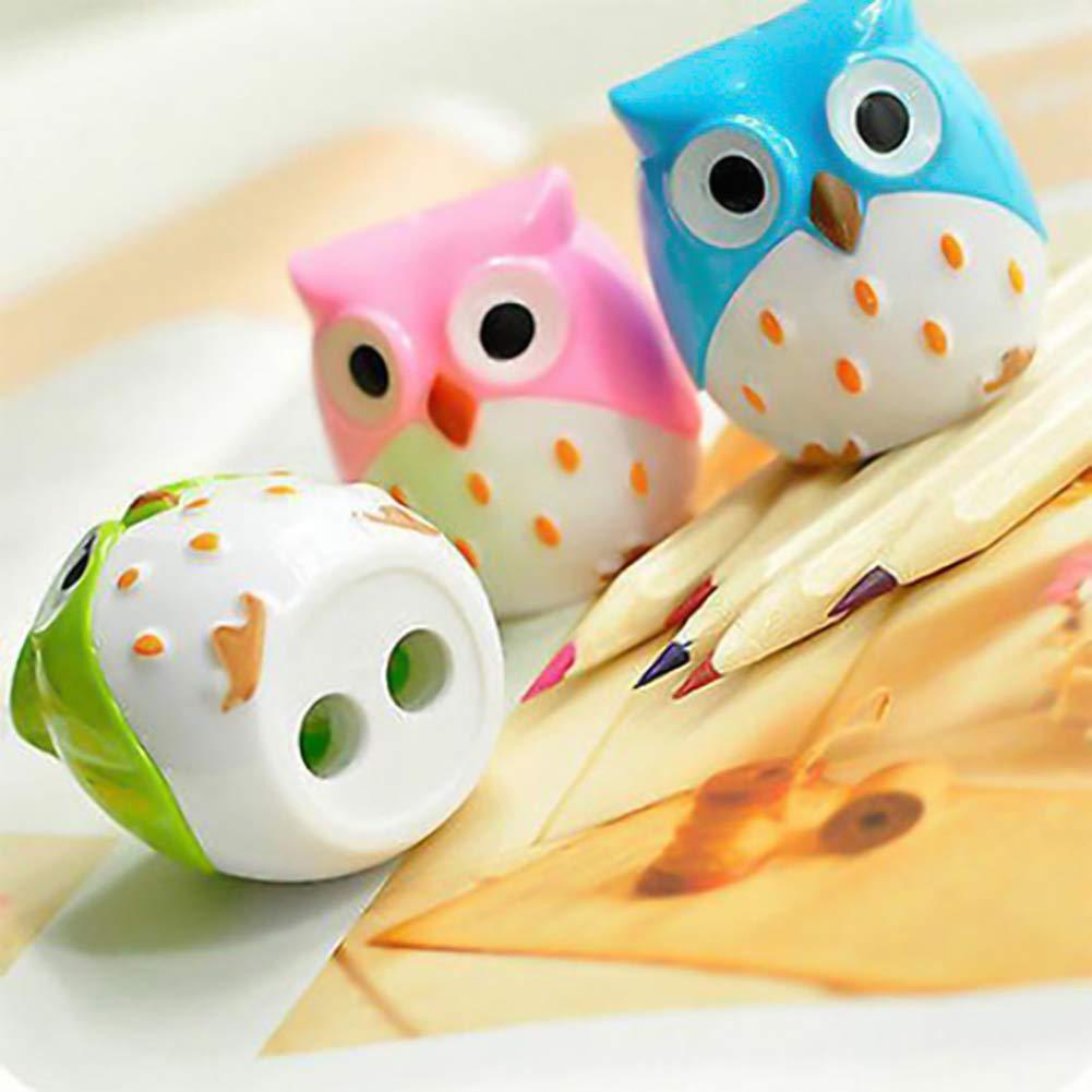 Queta 3pcs/set a forma di gufo temperamatite cute Animal temperamatite per studenti scuola per ufficio (colore casuale)