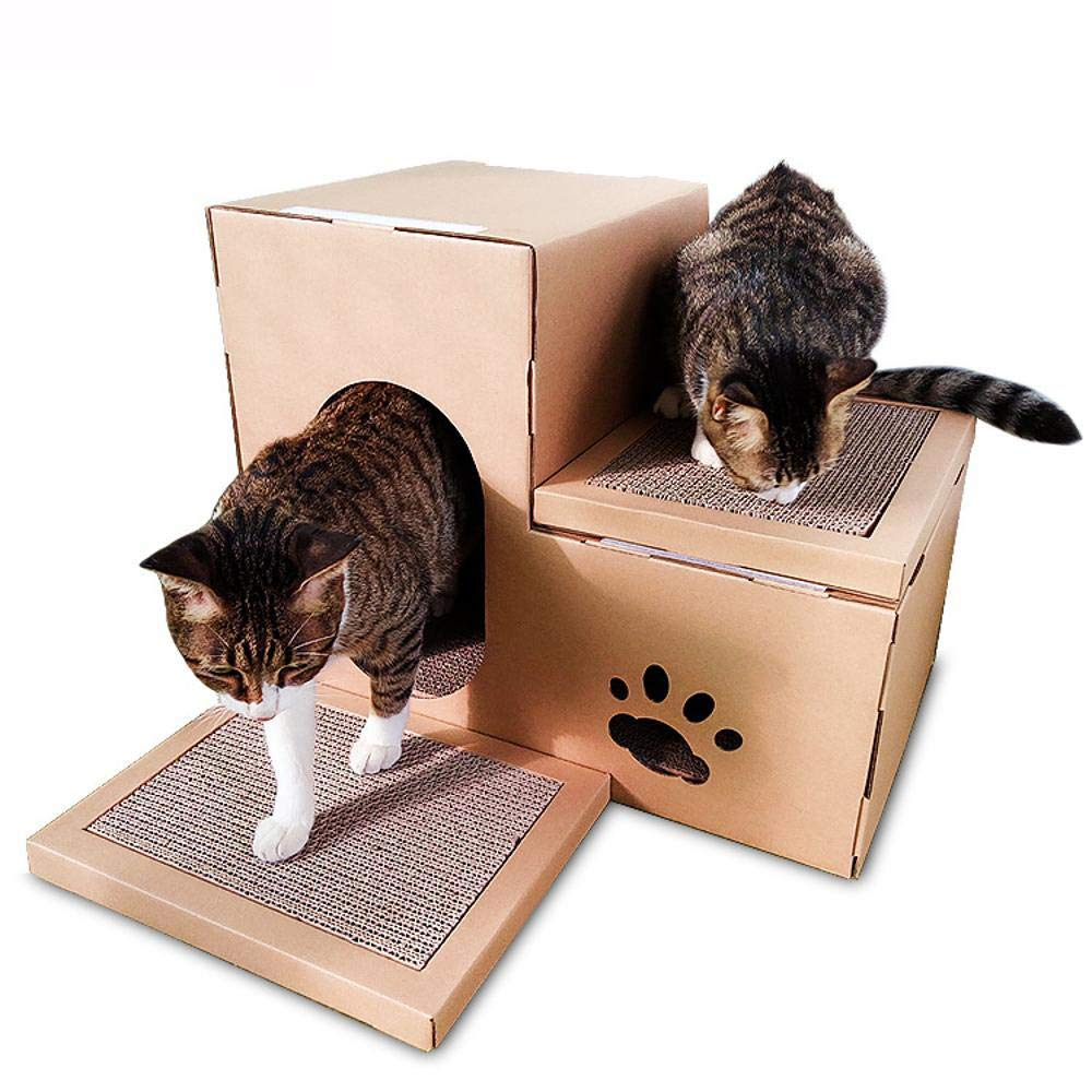 Aoligei Cat Play Towers & Trees Station Corrugated Cat House Double house Cat Scratch Board cat Claw toy Cat Nest 50  40  32cm