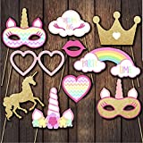 Sakolla Unicorn Photo Booth Props - 10PCS Rainbow Unicorn Pegasus Photobooth Props for Kids Birthday Party, Baby Shower, Wedding, Unicorn Party Favors