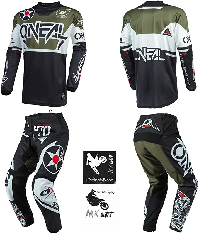ONeal Element Warhawk Blue//Red Kids//Youth motocross MX off-road dirt bike Jersey Pants combo riding gear set Pants 12//14 // Jersey Kids Large 26