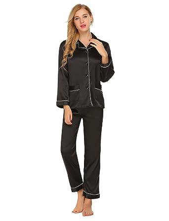 e04a4cdcae Lounge Sleepwear Set Long Sleeve Satin Pajamas Top and Pants for Women  Silky Pj