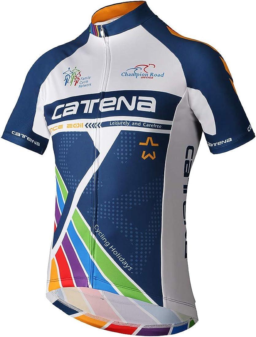CATENA Mens Cycling Jersey Short Sleeve Shirt Running Top Moisture Wicking Workout Sports T-Shirt Blue