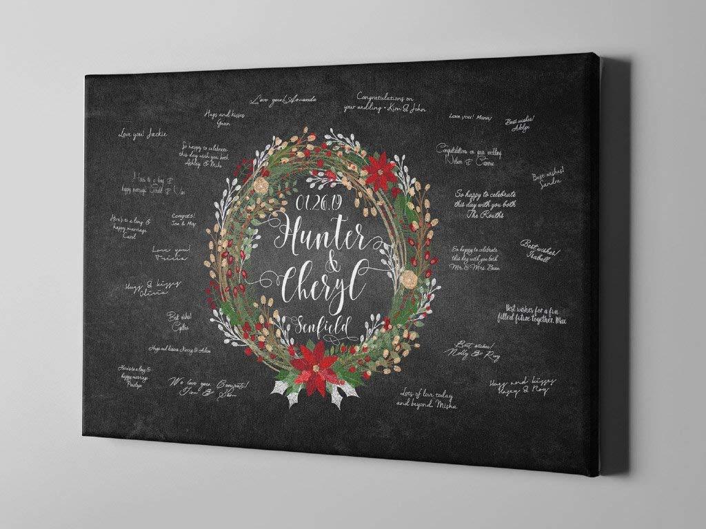 Christmas Gift Ideas -CGB153 Silver Wreath Wedding Guest Book Christmas Winter Signature Guest Book Winter Canvas Guest Book