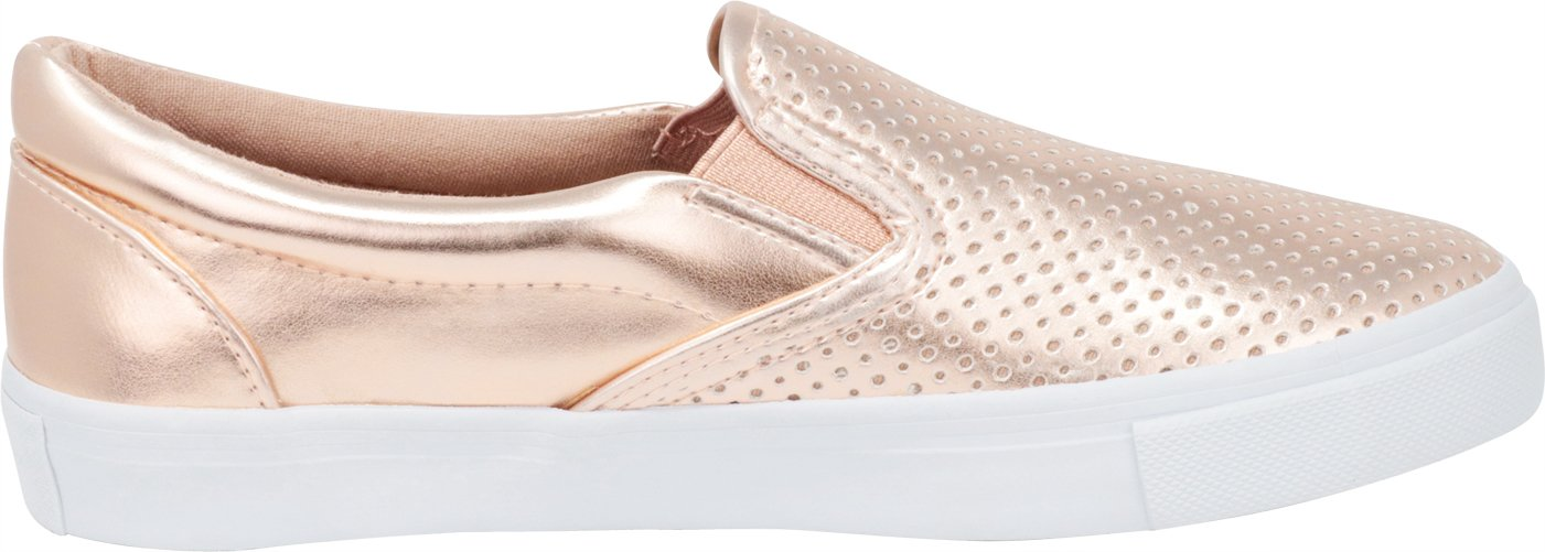 Cambridge Select Women's Slip-On Closed Round Toe Perforated Laser Cutout White Sole Flatform Fashion Sneaker B07F95YFC7 8.5 B(M) US|Dark Penny Pu/White Sole