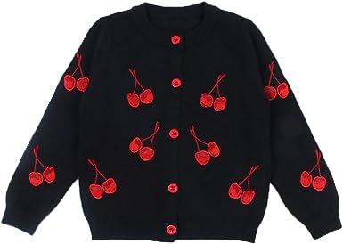 FAIRYRAIN Baby M/ädchen Kinder Lange /Ärmel Kirsche Strickjacke Strickpullover Jacket Pullover