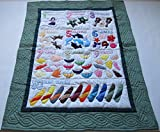 Hawaiian Style Numbers Quilt Baby Crib Blanket, Wall Hanging, Hand Quilted and Machine Appliqued