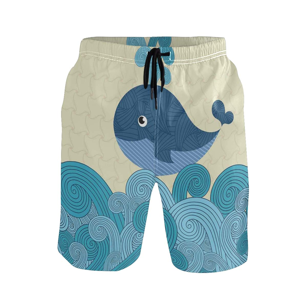 COVASA Mens Summer ShortsCartoon Smiley Cute Patterned Whale with Ornamental S