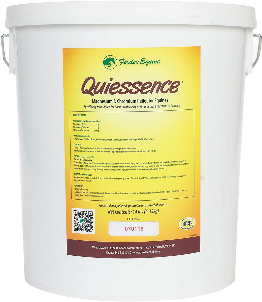 Quiessence Foxden Equine 14 lb Banana Flavored Magnesium Pellets Founder Calming Sore Muscle Supplement