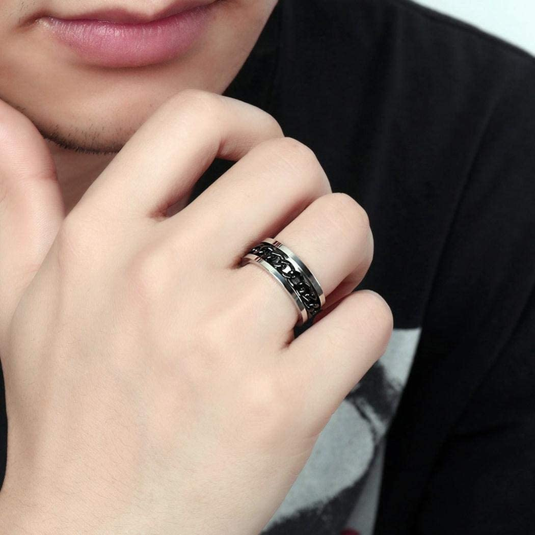 JEWURA Biker Ring Rotatable Black Chain Fashion Stainless Steel Jewelry