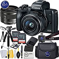 Canon EOS M50 Mirrorless Camera w/15-45mm (Black) + 2 x 32GB + K&M Essential Photo Bundle