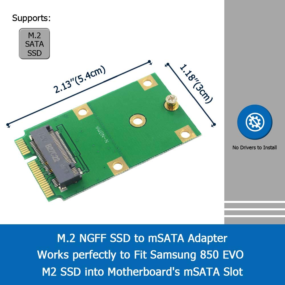 GODSHARK M.2 NGFF - Adaptador SSD a mSATA, Compatible con 2230 ...