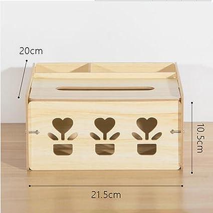 Caja de almacenamiento de múltiples funciones de madera de caja de tejido Creative escritorio de teléfono