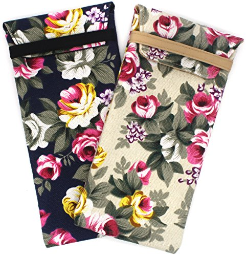 2 PACK Soft Cloth Slip In Lady Floral Eyeglass and Sunglasses Pouch Case BDH11 ()
