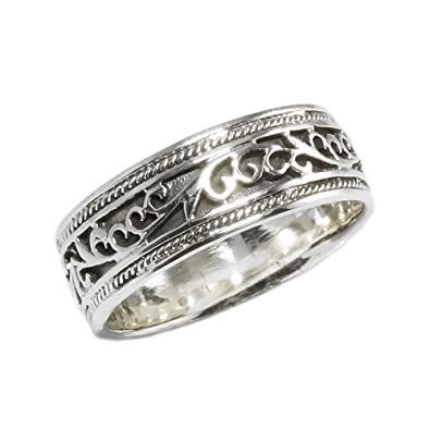 Amazoncom Sterling Silver Antique Style Wedding Band Ring Size 7