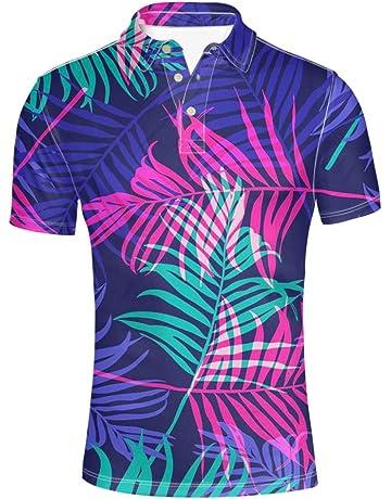 3464b81fd7b HUGS IDEA Summer Hawaiian Men s Short Sleevee Pique Polos T-Shirts