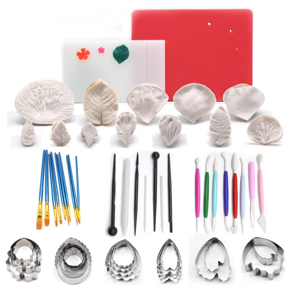 AK ART KITCHENWARE Leaf and Flower Tool Kit 12sets Silicone Veining Mold 5sets Petal Steel Cutters 1 Veining Board 1 Flower Foam Pad 10 Brushes 3 Frilling Sticks 4 Cake Carved Pens 8 Modelling Tool