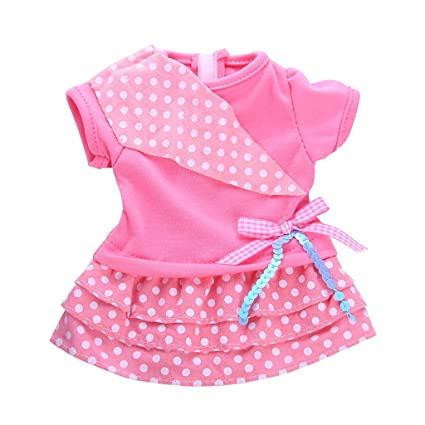 Homyl Adorable Vestido de Mangas Cortas para 18 Pulgadas Americana Mucahcha Dolls Dress Up