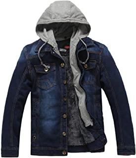 omniscient Mens Casual Vintage Splice Hoodie Denim Blouse Coat Jacket