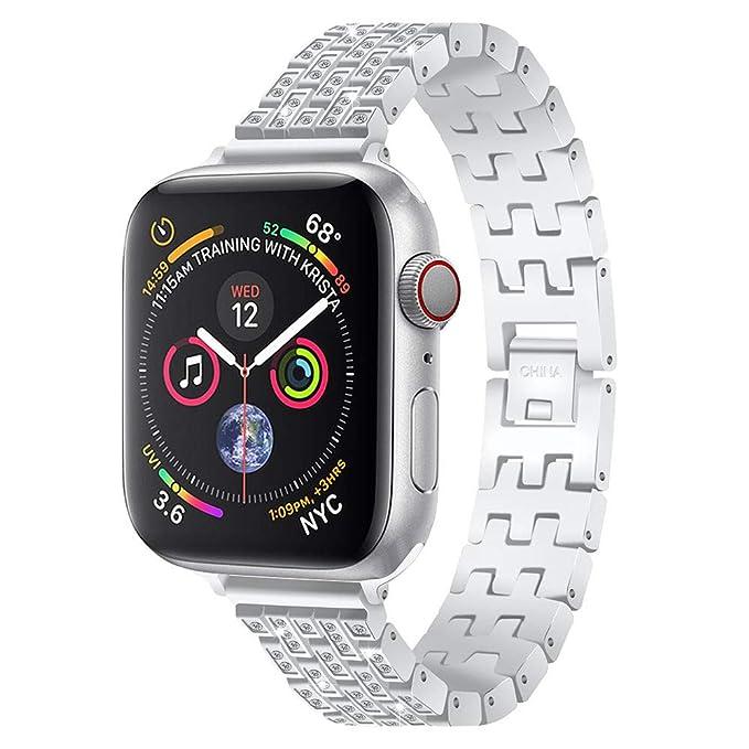Pulsera Diamante para Mujer Cinco Cuentas Brazalete de Acero Correa Reloj Manera Wristbands de Elegante Strap de Repuesto Cadena: Amazon.es: Relojes