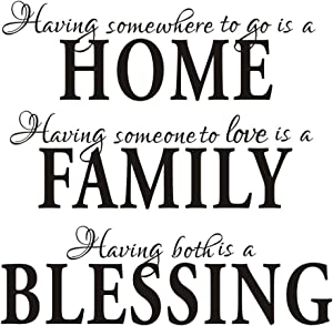 Having Somewhere to Go is a Home Family Blessing - Quotes Wall Decal Removable Vinyl Wall Stickers Living Room Decor