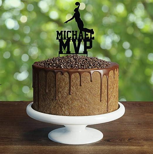 Decoración divertida para tarta de baloncesto, cumpleaños ...