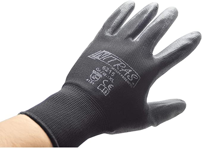 12er PACK 10 Handschuhe Nitril Foam Gr.10 rot//schwarz PA m.N NITRAS 3510 Paar