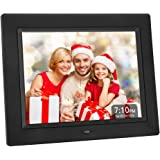 Crosstour Digital Photo Frame 8 Inch, Wide Screen Electronic Picture/Music/Video Frame USB SD/MMC, Clock & Calendar Function with Remote Control, Best Gift for Your Christmas