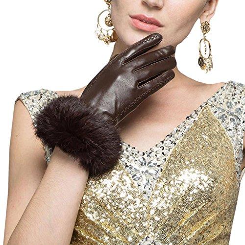 Leather City レディース手袋 羊革 シープスキン レザーグローブ ラビットファー ファー付き 女性用 本革 暖かい 防寒用 秋冬コーディネート 小物 大人かわいい