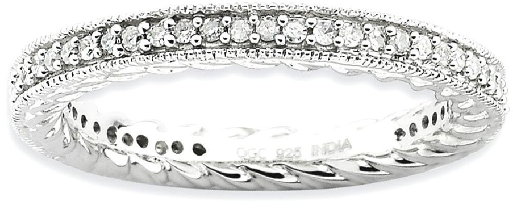 ICE CARATS 925 Sterling Silver Diamond Band Ring Size 7.00 Stackable Fancy Fine Jewelry Gift Set For Women Heart