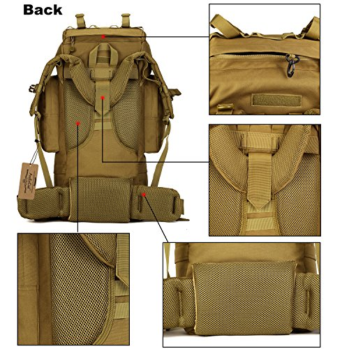 ArcEnCiel 65L Waterproof Tactical Giant Hiking Camping Backpack with Rain Cover (Coyote Brown)