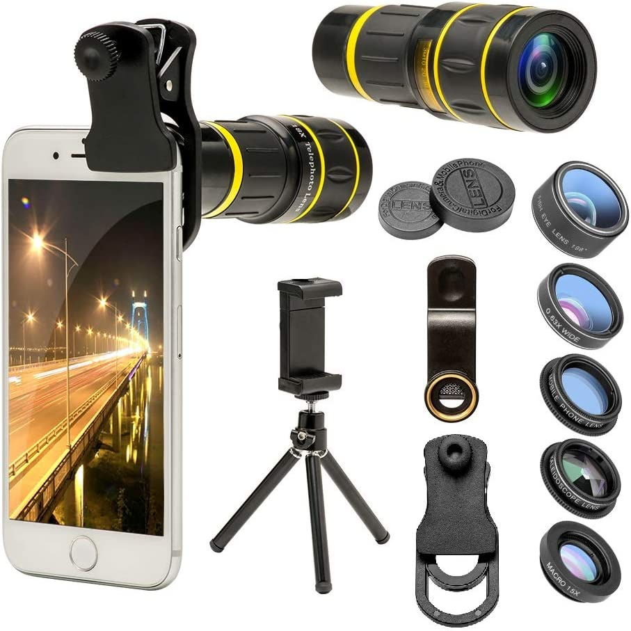 Goviw Cell Phone Camera Lens KIT 6 in 1 18x Telephoto Zoom Lens/Wide Angle/Macro/Fisheye/Kaleidoscope/CPL, Clip-On lense Compatible for iPhone X 8 7 6s Plus, Samsung and More