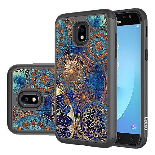 for Samsung Galaxy J7 2018 / J7 Refine / J7 Star / J7 V J7V 2rd Gen / J7 Aero Case, LEEGU [Shock Absorption] Dual Layer Heavy Duty Protective Cover Rugged Phone Cases - Gear Wheel