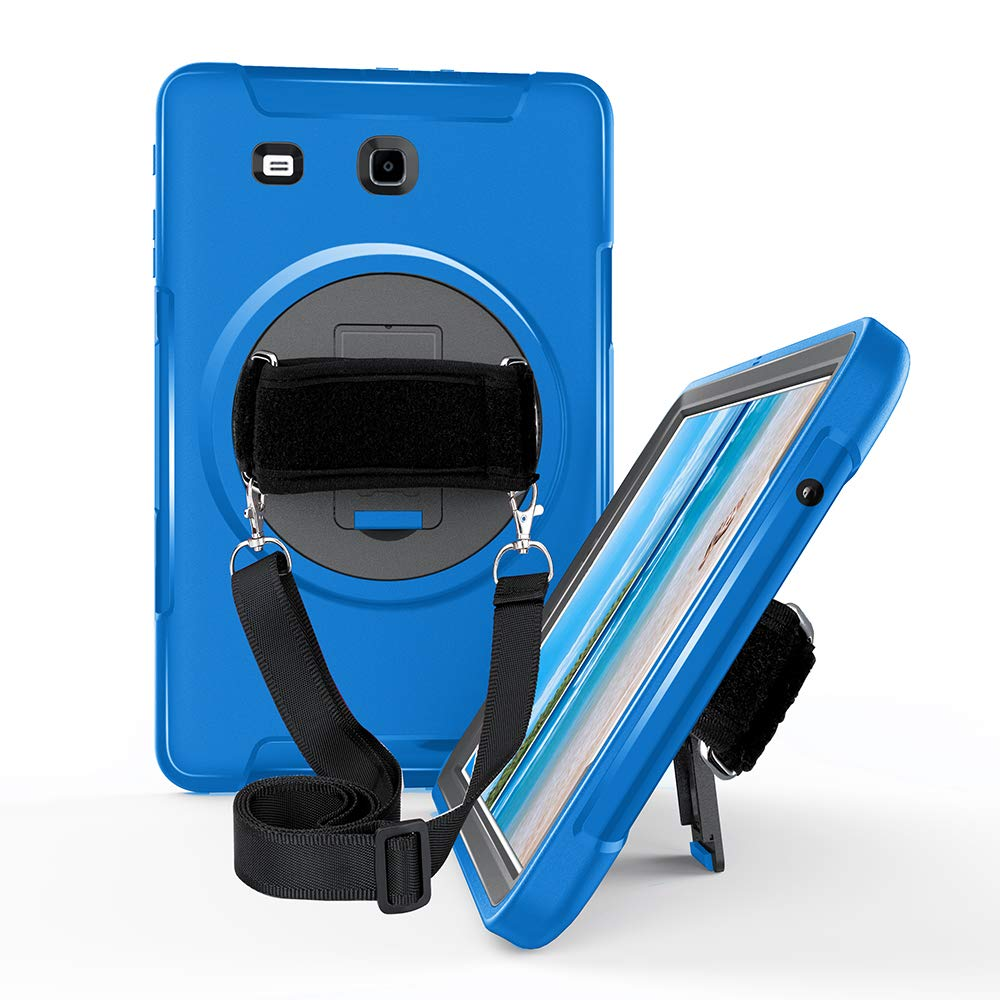 新品本物 STLDM B07L41HM1Z Galaxy Tab E 9.6ケース 高耐久 Galaxy 耐衝撃 3層ハイブリッド 耐衝撃 E フルボディ保護ケース Samsung Galaxy Tab E 9.6インチタブレット用 キックスタンド付き ショルダーストラップ付き シアン B07L41HM1Z, アダチク:293cb629 --- a0267596.xsph.ru