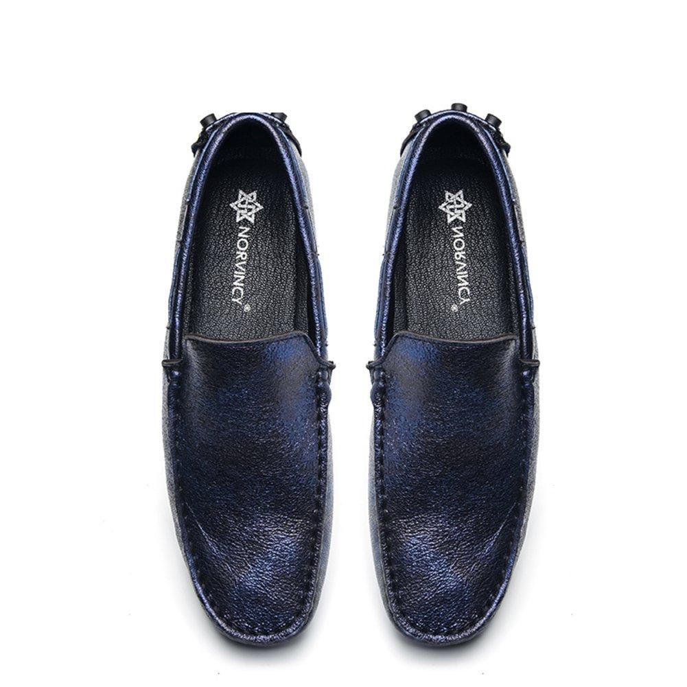 Men's Leder Leder Leder Freizeit Sehnen Schuhe Dress Herbst Business Hochzeit Mode Rutschen Blau ae6422