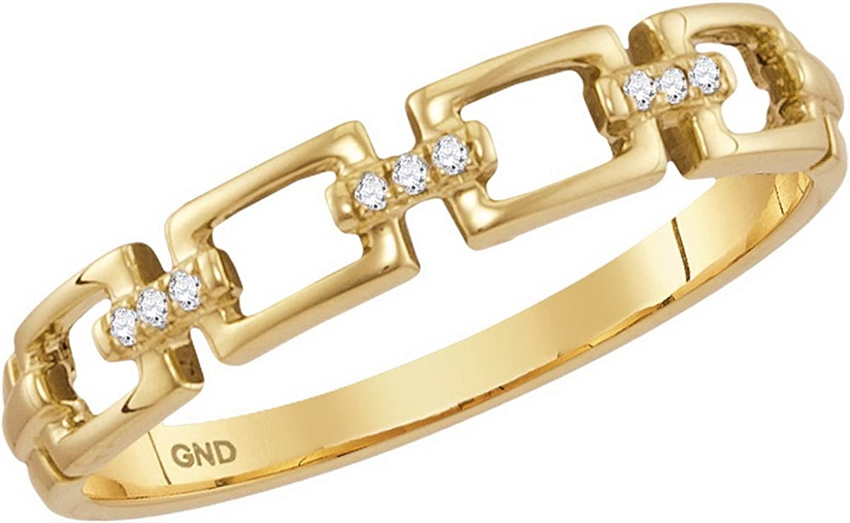 10K Yellow Gold Chain Link Diamond Stackable Rings .03 CTW