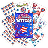 Patriotic American Flag Temporary Tattoos and Stickers Set (Over 50 USA Tattoos and 100 Stickers, 4th of July Party Supplies)