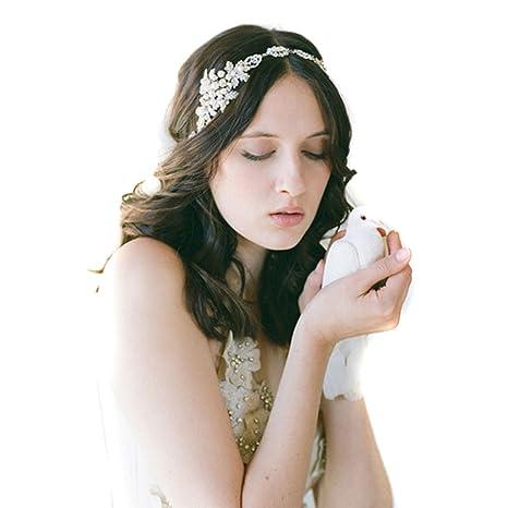 Womens cristallo Pearl Diamond Hairband sposa sposa l accessorio dei  capelli della fascia capa di 45e473785c48