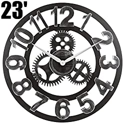 OLDTOWN Clock 3D Retro Rustic Vintage Wooden 23-Inch Noiseless Gear Wall Clock, Number-Silver