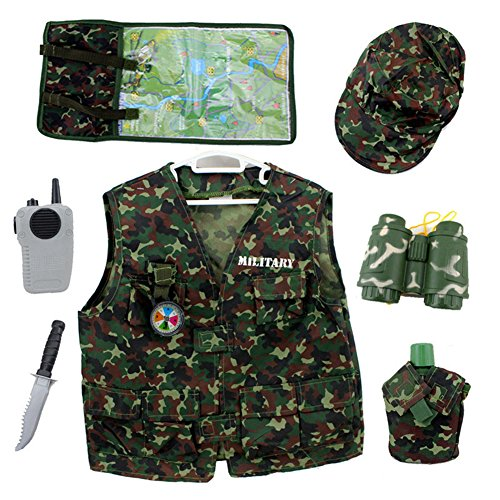 TOPTIE Camo Tactical Soldier Costumes, Military Motif Role Play Set for Kid-Green-S ()