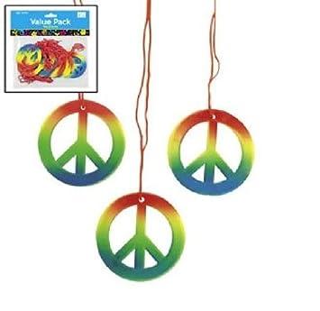 Amazon Lot Of 48 Rainbow Peace Sign Necklaces Retro 60s 70s