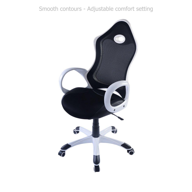 Modern Ergonomic Design High Back Chair Mesh Seats Soft Sponge Upholstery 360 Degree Swivel Home Office Gaming Executive Computer Desk Task - Black/White #1540a