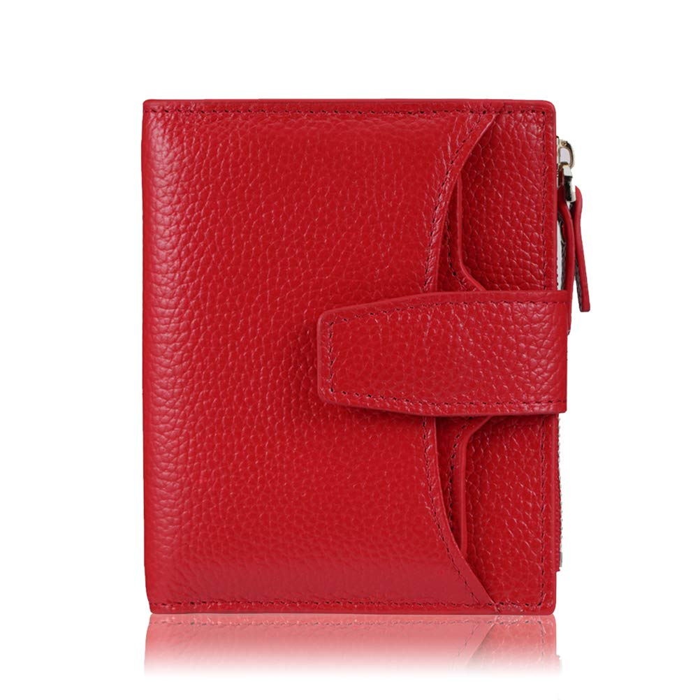 FT FUNTOR RFID Leather Wallet for women,Ladies Small Compact Bifold Pocket Wallet with id Window (Lichee Red) by FT FUNTOR