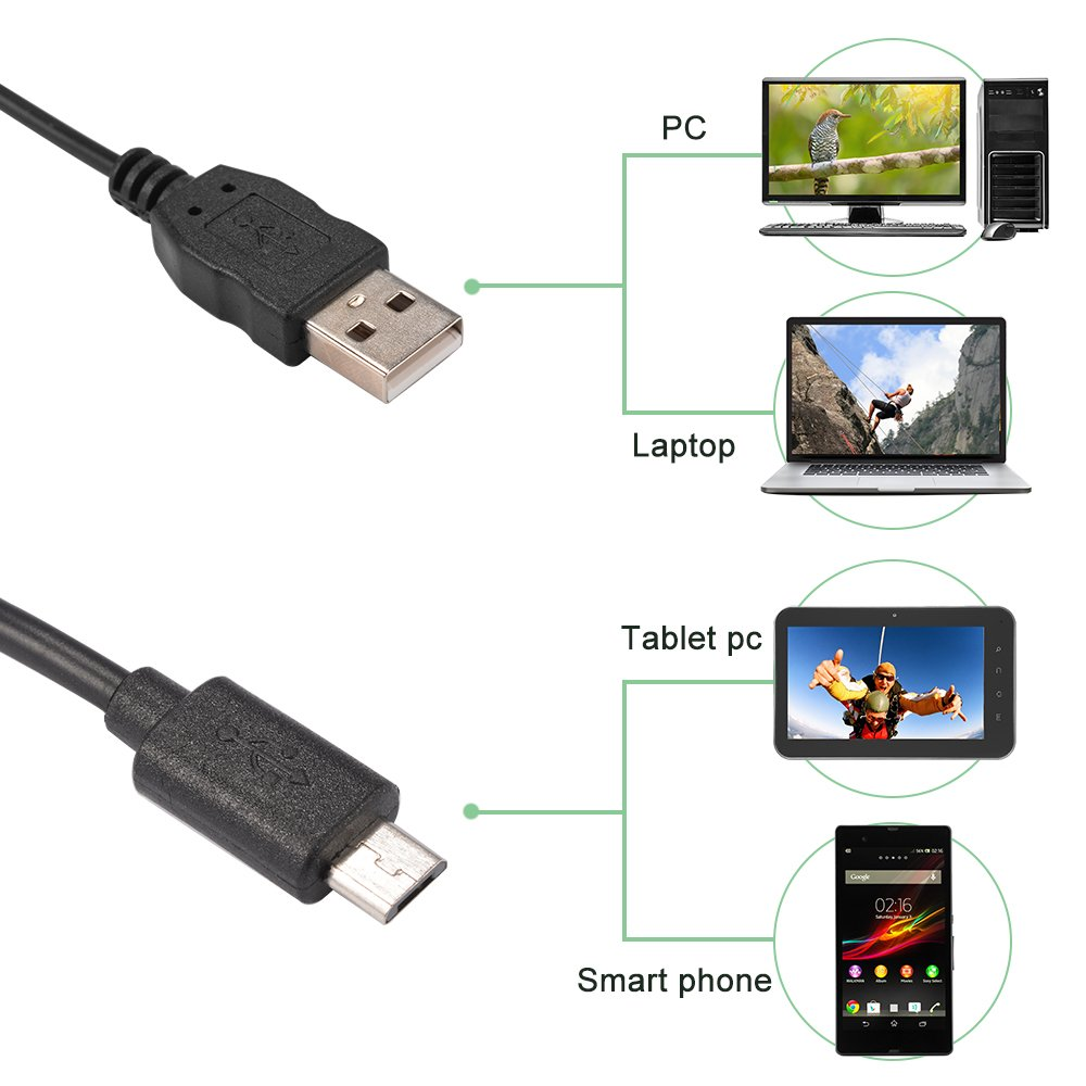 USB Adpater para PC Dispositivo Android con funci/ón OTG BI705 XCSOURCE/® 7mm-2M Micro USB impermeable 6LED endoscopio endoscopio tubo de inspecci/ón c/ámara